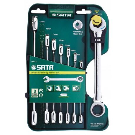 Zestaw 8 kluczy płasko-oczkowych z podwójną grzechotką SATA 08007A