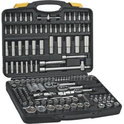 """Zestaw kluczy nasadowych 1/4"""", 3/8"""",1/2"""" 150 elementów Topex 38D687"""